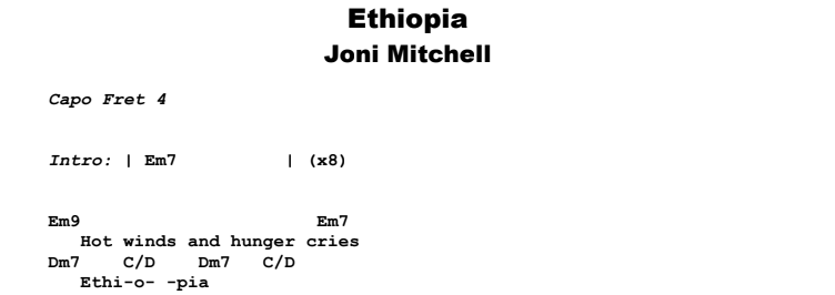 Joni Mitchell - Ethiopia Guitar Lesson Chords & Songsheet Preview