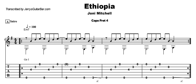 Joni Mitchell - Ethiopia Guitar Lesson Tab Preview