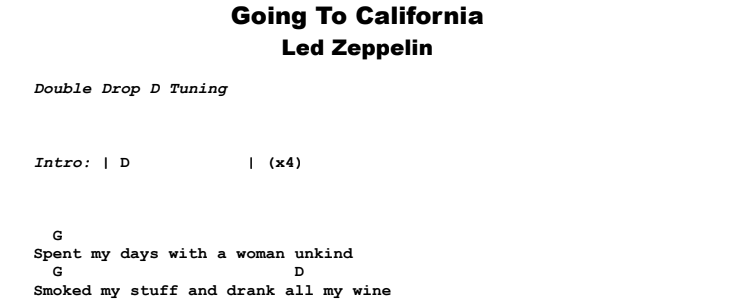 Led Zeppelin - Going To California Guitar Lesson Chords & Songsheet Preview