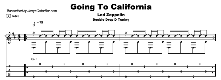 Led Zeppelin - Going To California Guitar Lesson Tab Preview