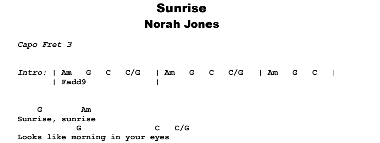 Norah Jones - Sunrise Guitar Lesson Chords & Songsheet Preview