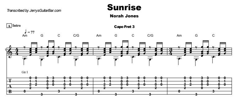 Norah Jones - Sunrise Guitar Lesson Tab Preview
