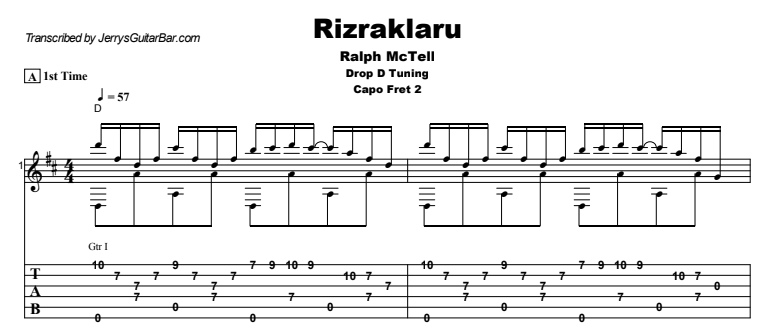 Ralph McTell - Rizraklaru Guitar Lesson Tab Preview