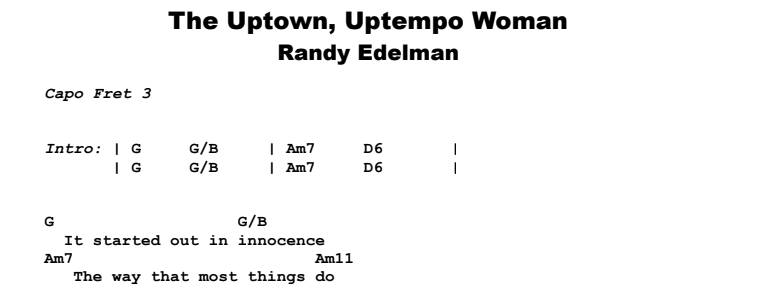 Randy Edelman - The Uptown Uptempo Woman Guitar Lesson Chords & Songsheet Preview