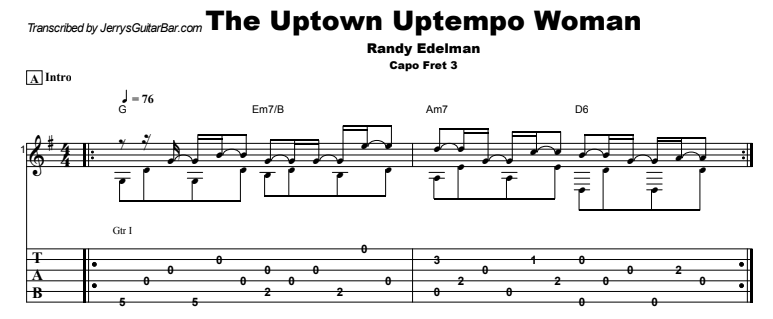 Randy Edelman - The Uptown Uptempo Woman Guitar Lesson Tab Preview
