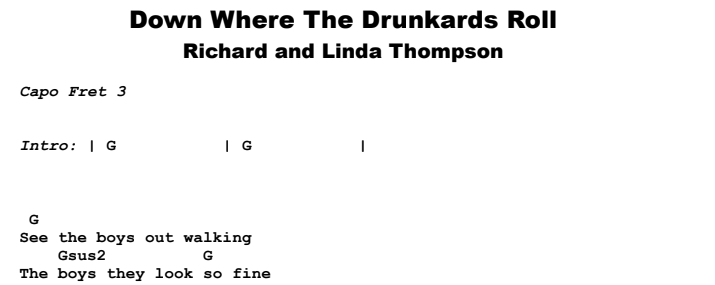 Richard and Linda Thompson - Down Where The Drunkards Roll Guitar Lesson Chords & Songsheet Preview