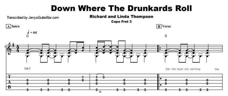 Richard and Linda Thompson - Down Where The Drunkards Roll Guitar Lesson Tab Preview