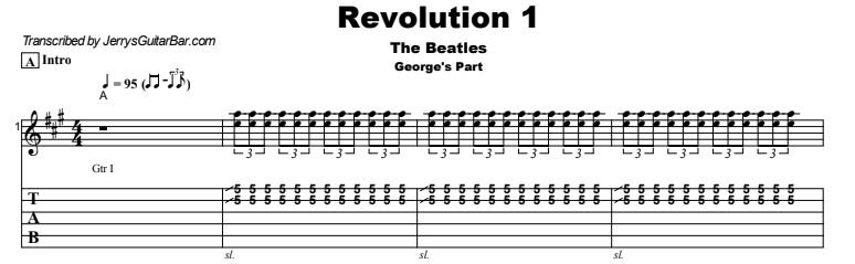 The Beatles - Revolution 1 Guitar Lesson George's Part Tab Preview