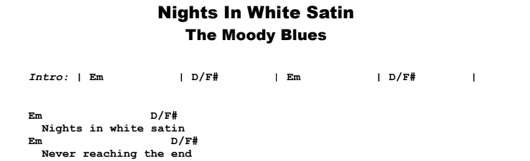 The Moody Blues - Nights In White Satin Guitar Lesson Chords & Songsheet Preview