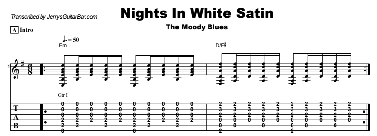 The Moody Blues - Nights In White Satin Guitar Lesson Tab Preview