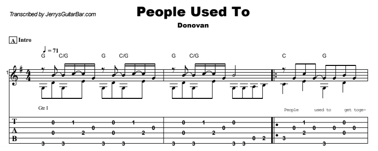 Donovan - People Used To Guitar Lesson Tab Preview