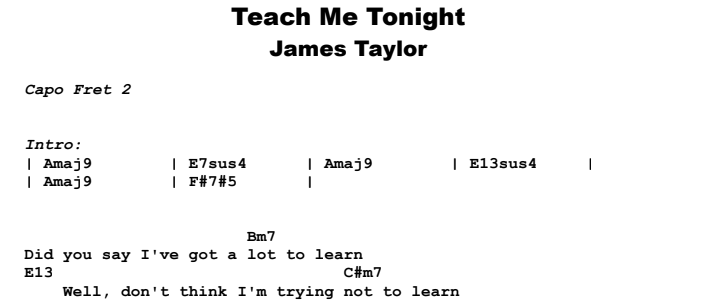 James Taylor - Teach Me Tonight Guitar Lesson Chords & Songsheet Preview