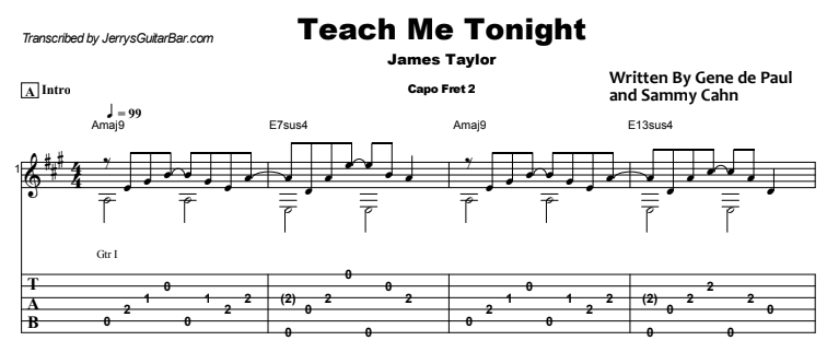 James Taylor - Teach Me Tonight Guitar Lesson Tab Preview