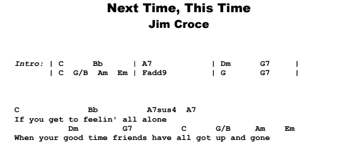 Jim Croce - Next Time, This Time Guitar Lesson Chords & Songsheet Preview