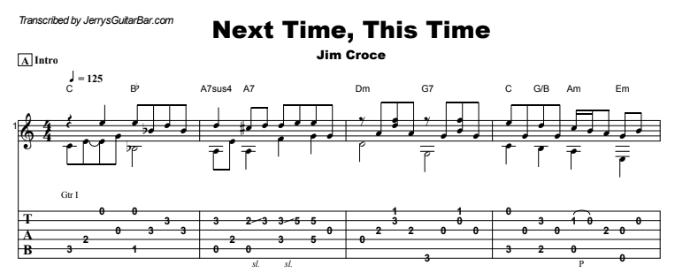 Jim Croce - Next Time, This Time Guitar Lesson Tab Preview
