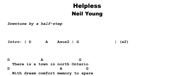 Neil Young - Helpless Guitar Lesson Chords & Songsheet Preview