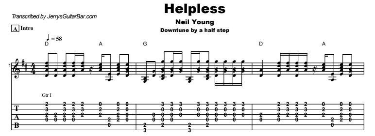 Neil Young - Helpless Guitar Lesson Tab Preview