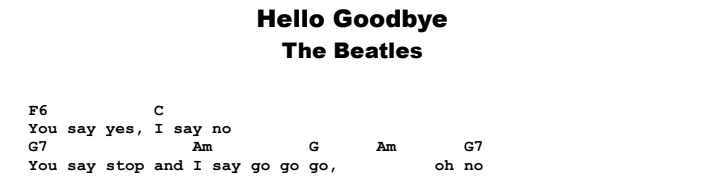 The Beatles - Hello Goodbye Guitar Lesson Chords & Songsheet Preview
