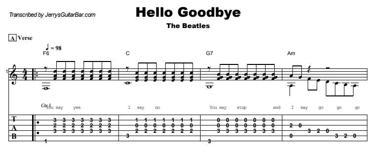 The Beatles - Hello Goodbye Guitar Lesson Tab Preview