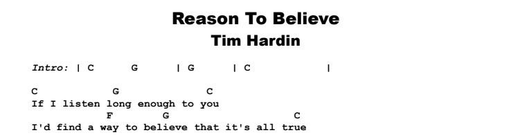 Tim Hardin - Reason To Believe Guitar Lesson Chords & Songsheet Preview