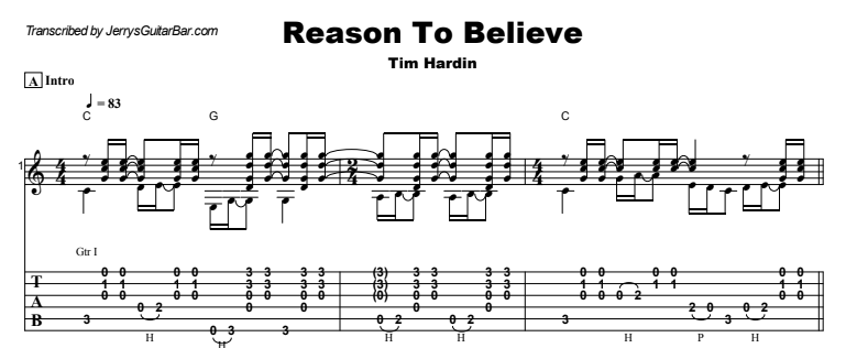 Tim Hardin - Reason To Believe Guitar Lesson Tab Preview