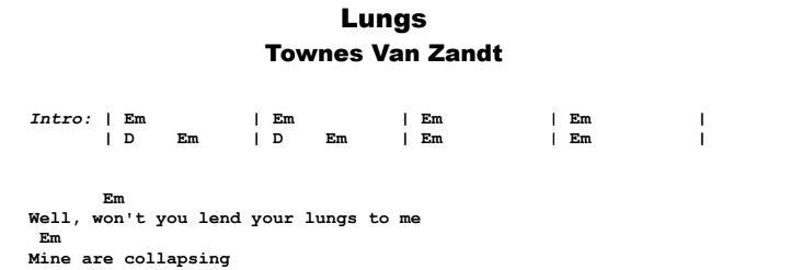 Townes Van Zandt - Lungs Guitar Lesson Chords & Songsheet Preview
