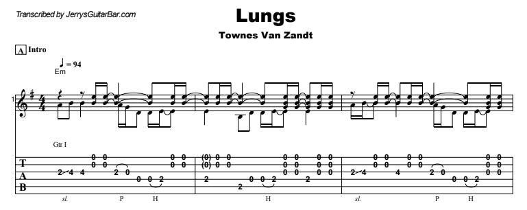 Townes Van Zandt - Lungs Guitar Lesson Tab Preview