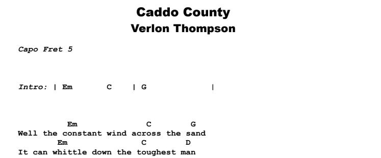 Verlon Thompson - Caddo County Guitar Lesson Chords & Songsheet Preview
