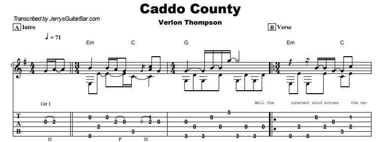 Verlon Thompson - Caddo County Guitar Lesson Tab Preview