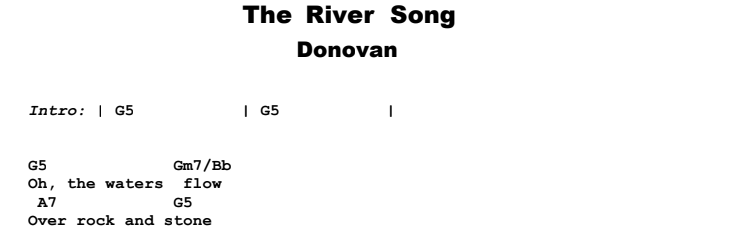Donovan - The River Song Guitar Lesson Chords & Songsheet Preview