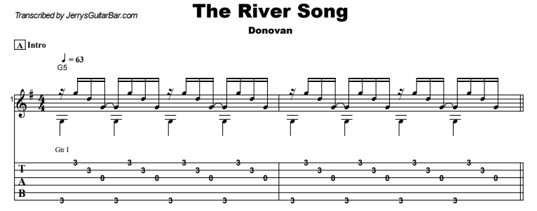 Donovan - The River Song Guitar Lesson Tab Preview