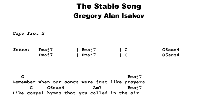 Gregory Alan Isakov - The Stable Song Guitar Lesson Chords & Songsheet Preview