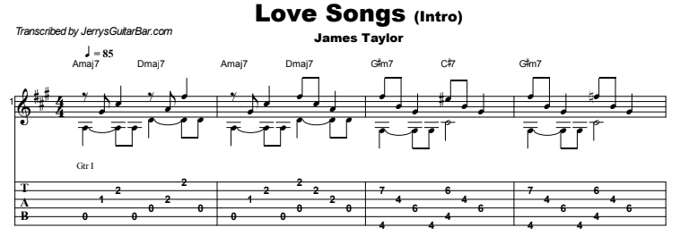 James Taylor - Love Songs Guitar Lesson Intro Tab Preview