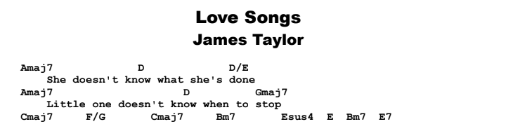 James Taylor - Love Songs Guitar Lesson Chords & Songsheet Preview