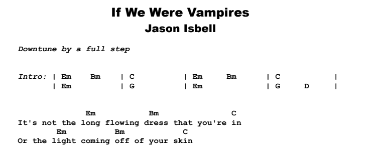 Jason Isbell - If We Were Vampires Guitar Lesson Chords & Songsheet Preview