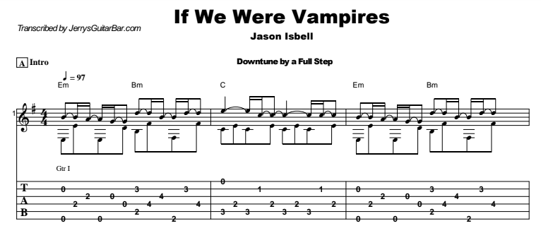 Jason Isbell - If We Were Vampires Guitar Lesson Tab Preview