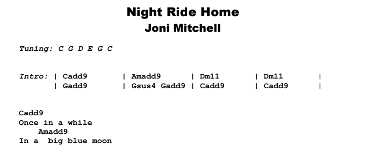 Joni Mitchell - Night Ride Home Guitar Lesson Chords and Songhseet Preview