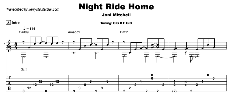 Joni Mitchell - Night Ride Home Guitar Lesson Tab Preview