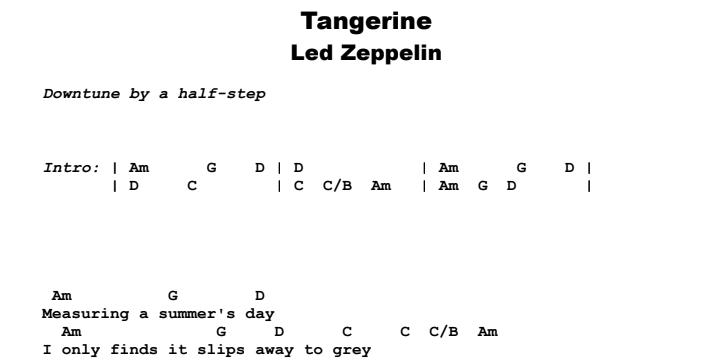 Led Zeppelin - Tangerine Guitar Lesson Chords & Songsheet Preview