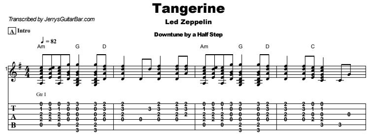 Led Zeppelin - Tangerine Guitar Lesson Tab Preview