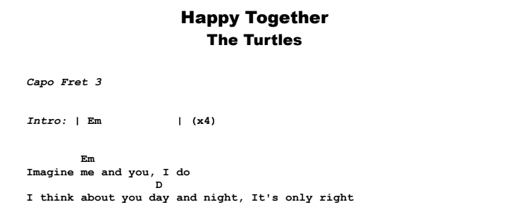 The Turtles - Happy Together Guitar Lesson Chords & Songsheet Preview