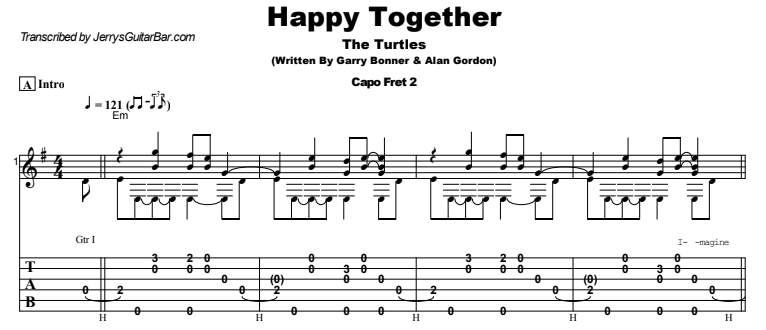 The Turtles - Happy Together Guitar Lesson Tab Preview