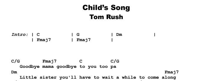 Tom Rush - Child's Song Guitar Lesson Chords & Songsheet Preview