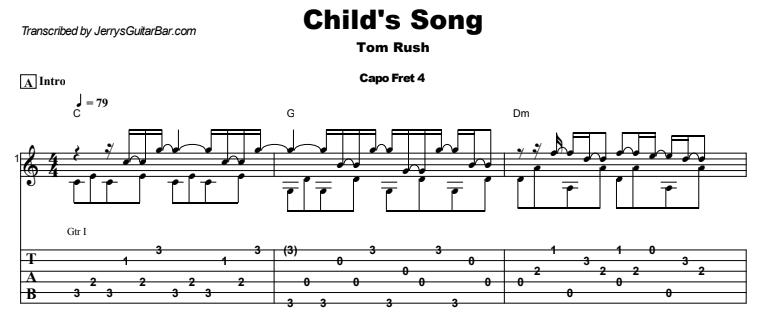 Tom Rush - Child's Song Guitar Lesson Tab Preview