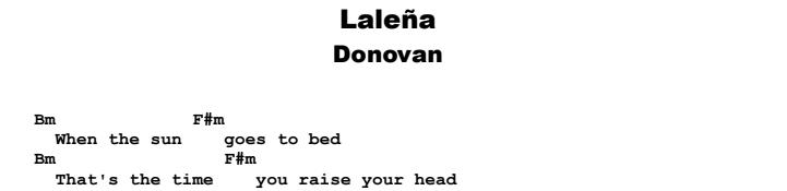 Donovan - Laleña Guitar Lesson Chords & Songsheet Preview