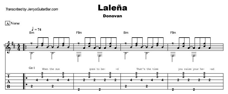 Donovan - Laleña Guitar Lesson Tab Preview
