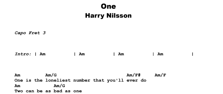 Harry Nilsson - One Guitar Lesson Chords & Songsheet Preview