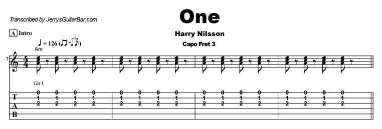 Harry Nilsson - One Guitar Lesson Tab Preview