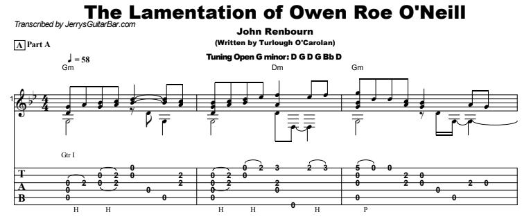 John Renbourn - The Lamentation of Owen Roe O'Neill Guitar Lesson Tab Preview