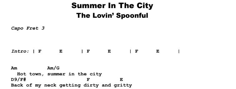 John Sebastian - Summer In The City Guitar Lesson Chords & Songsheet Preview